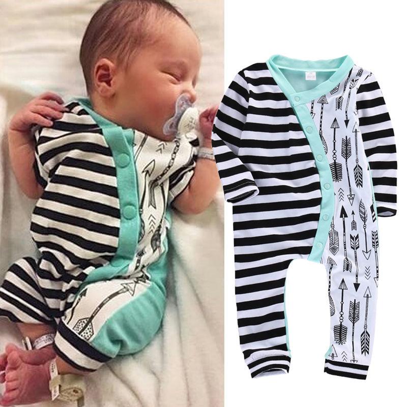 Säuglingsbaby Boy Kleidung Strampler Langarm Streifen Nette Spielanzugoverall Outfits Baby Jungen Mädchen Kleidung