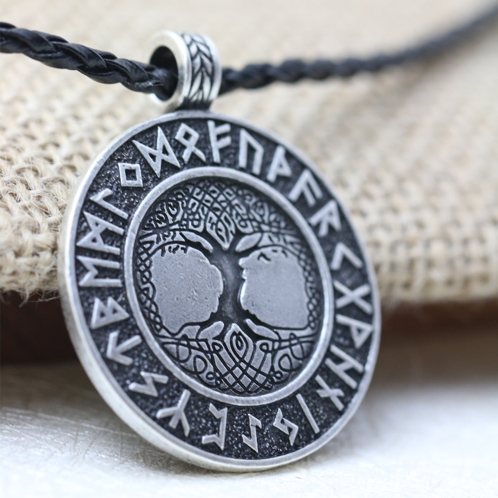 LANGHONG 1pcs Nordic Vikings Runes Amulet Pendant Necklace The Tree of Life Runes PENDANT Necklace Nordic Talisman langhong 10pcs the om necklace tibet mandala necklace tibet spiritual necklace geometry amulet religious jewelry
