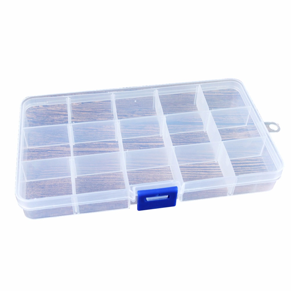 15 Slots Clear Plastic Storage Box Nail Art Jewery Assortment Organizer Detachable Nail  ...