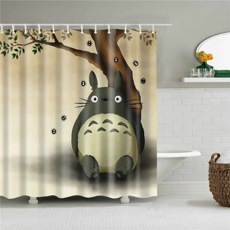 Totoro Shower Curtain Bath Screen Bath Curtain Cartoon Fashion Waterproof And Mildew Proof For Home Decor Bathroom Article