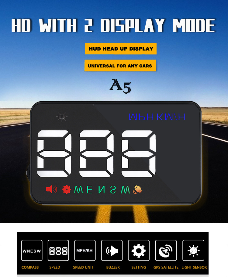 XYCING A5 HUD GPS Avtomobil Yuxarıdakı Ekran şüşəsi Proyektor - Avtomobil elektronikası - Fotoqrafiya 5