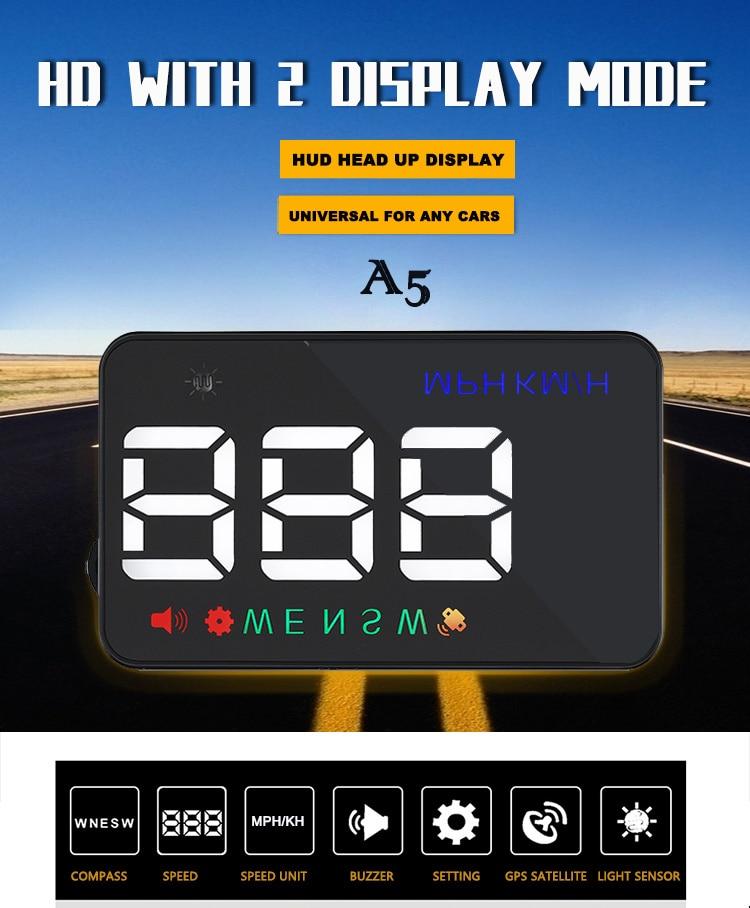 XYCING A5 HUD GPS Car Head Up Windուցադրել առջեւի - Ավտոմեքենաների էլեկտրոնիկա - Լուսանկար 5