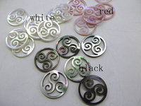 top quality 12pcs 17 21mm Genuine MOP Shell ,Pearl Shell Pink balck white filigree Carved spacer beads