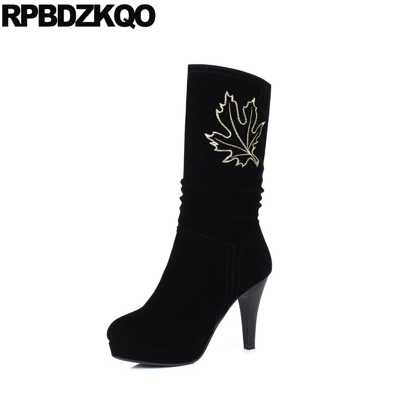 High Heel Trend Black Chunky Sexy Women Boots Winter 2017 Fur Embroidered Mid Calf Shoes Slip On British Chinese New Female double buckle cross straps mid calf boots