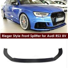 RS3 передний разделитель Riegerr Стиль углеродного волокна передний бампер для губ сплиттер задний диффузор для Audi RS3 8 V глянцевый