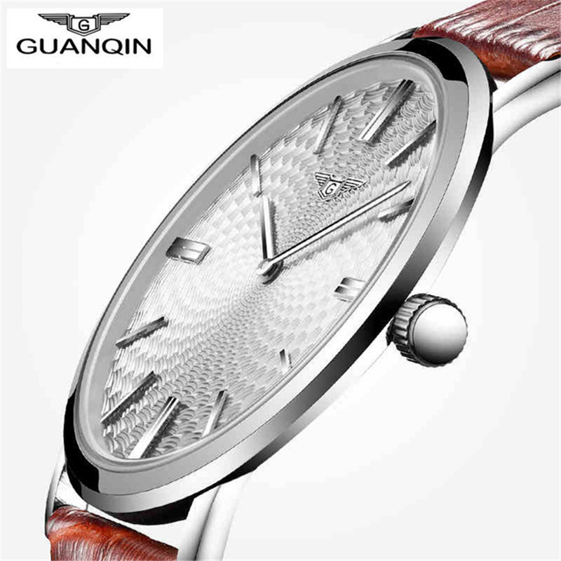 все цены на  relogio masculino GUANQIN Watch Men Leather Ultra Thin Quartz Watch Mens Watches Top Brand Luxury Casual Waterproof Wristwatch  в интернете