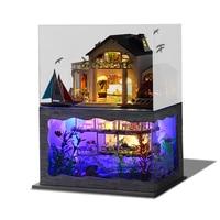 Casas de Muñecas DIY Muebles Luces LED Miniatura Dollhouse de Madera Villa Modelo Hawaii Underwater World Para Regalo de Navidad de Cumpleaños