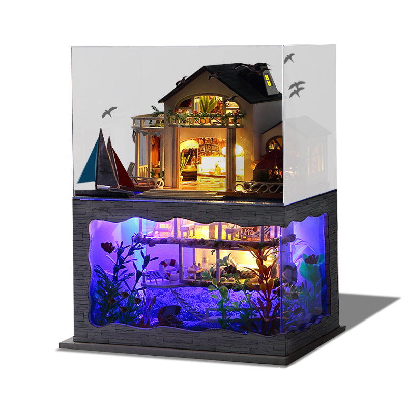 Us 35 69 15 Off Diy Doll Houses Furniture Led Lights Wooden Dollhouse Miniature Hawaii Villa Model Underwater World For Christmas Birthday Gift In