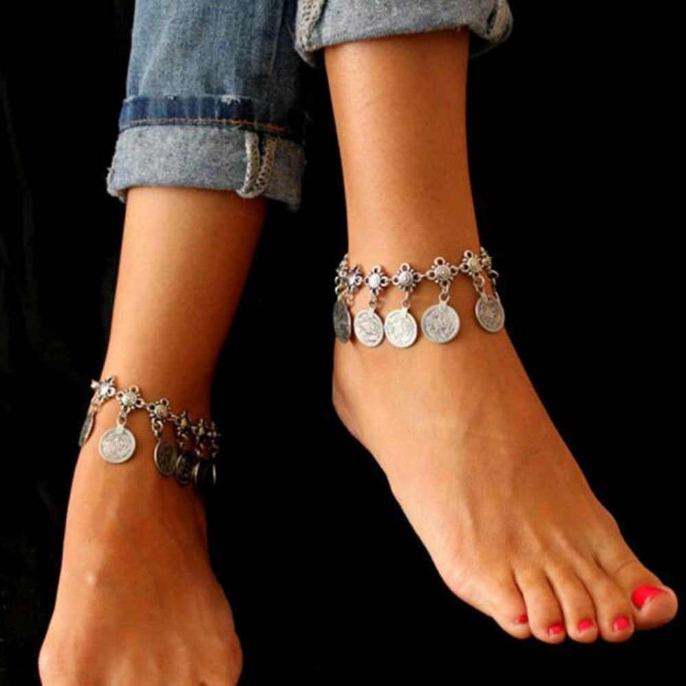 FAMSHIN Party prezenty srebrny kolor czeski Metal frędzel łańcuszek na kostkę luksusowy urok monety kostki bransoletka dla kobiet biżuteria lato styl