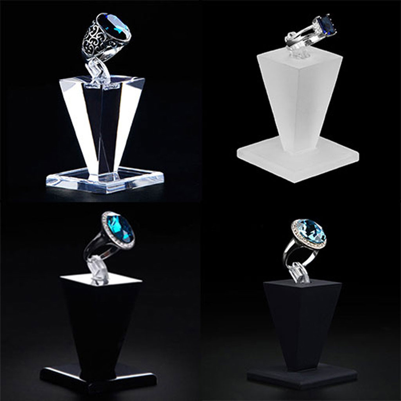 Acrylic Ring Display Stand Holder Jewelry Storage Rack Store Showcase Organizer