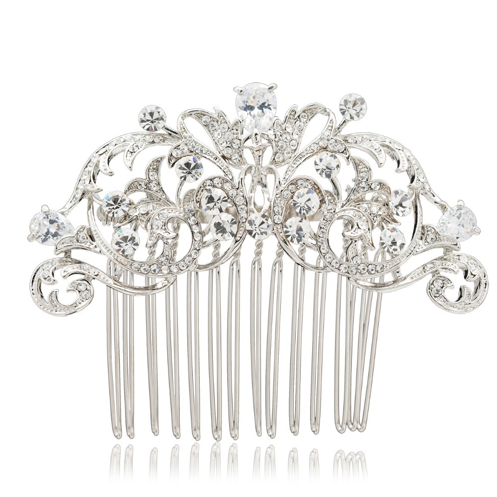 Clear Drop Zircon Rhinestone Crystals Flower Hair Combs Bridal Women Jewelry Wedding Hair Accessories Gifts CO2253R