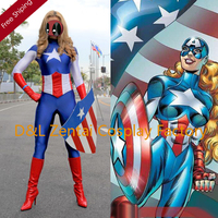 Free Shipping DHL Lady Captain America Female Superhero Costume 2015 Halloween Party Cosplay Lycra Zentai Suit