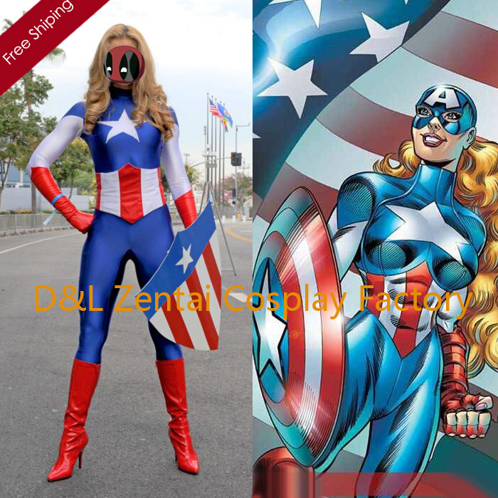 Free Shipping DHL Lady Captain America Female Superhero Costume 2015 Halloween Party Cosplay Lycra Zentai Suit SH1508 image