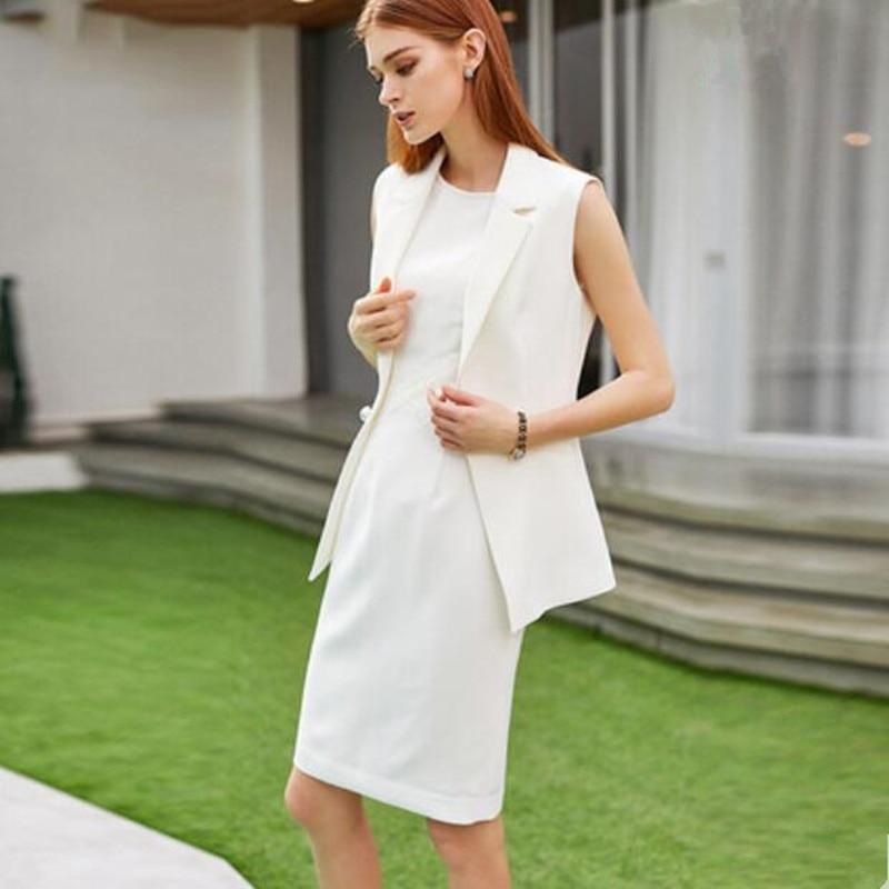 Women Dress Suits Office Lady Business Formal Work Wear 2 Piece Sets Sleeveless Pencil Dress White 2020 Spring Summer Uniform