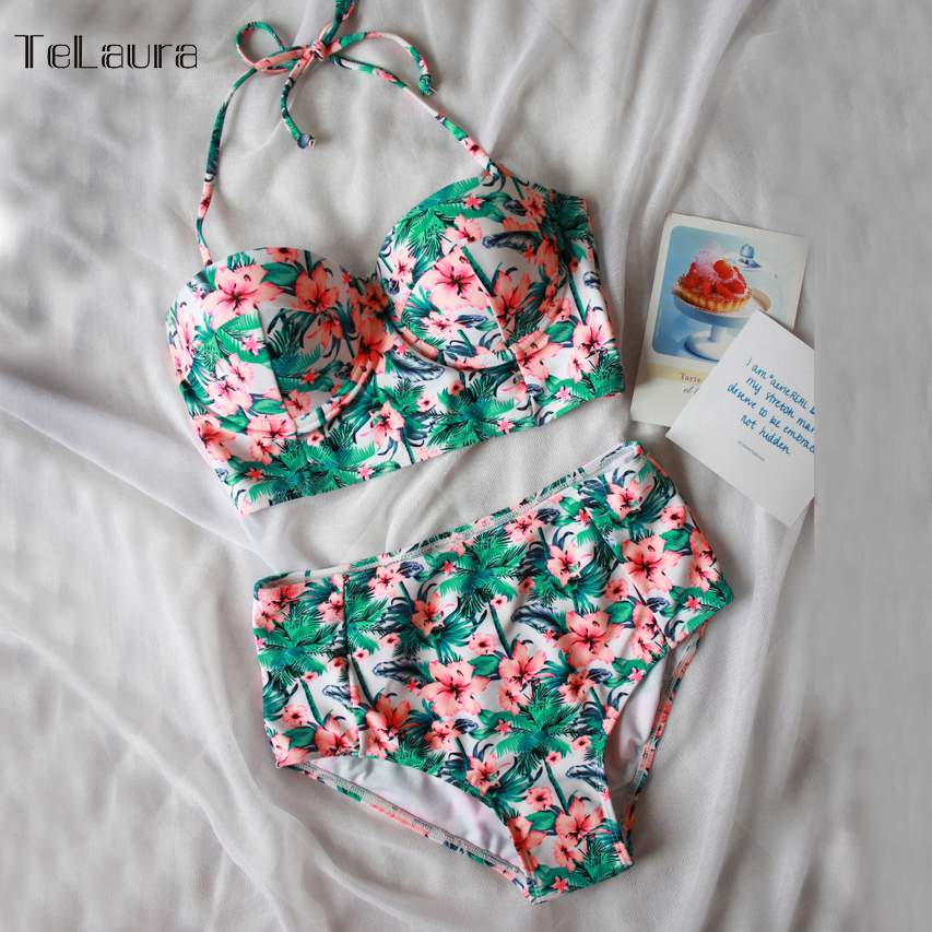 2016 Sexy Floral Print High Waist Swimsuit Bikini Push Up Swimwear Women Halter Top Biquini Bathing