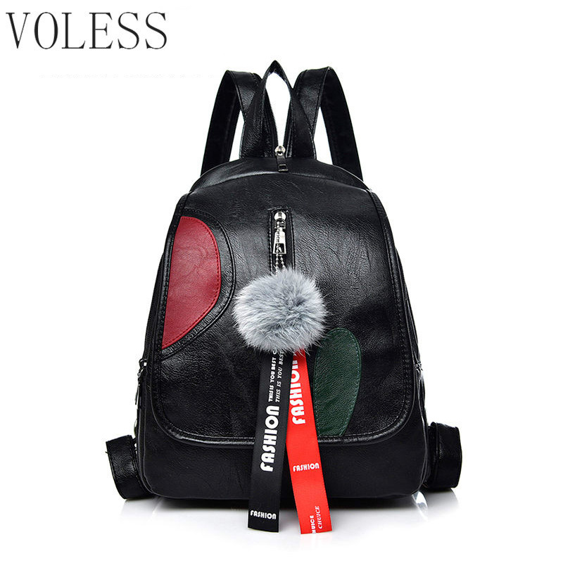 Fashion School Bags For Teenage Girls Women Backpack High Quality Pu Leather Back Pack Casual Shoulder Bags 2018 Hairball Mochil