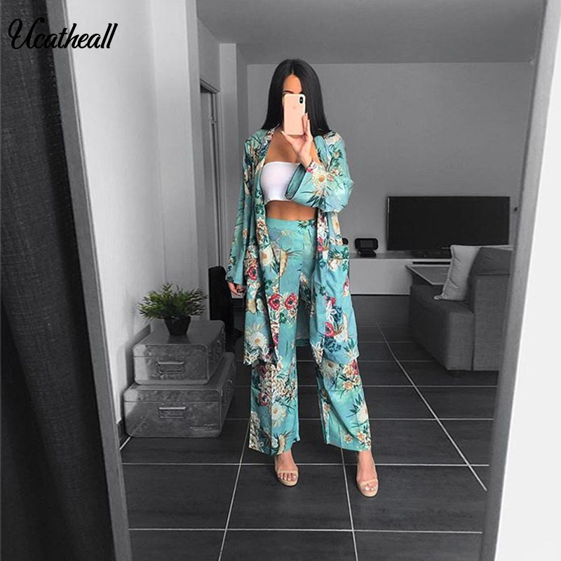 Women's Casual Floral Printed Blazer2 Pieces Set Suit V Neck Wiped Kimono Loose Pajama Jacket +Trousers Two Piece  Suits -in Pant Suits from Women's Clothing on Aliexpress.com | Alibaba Group