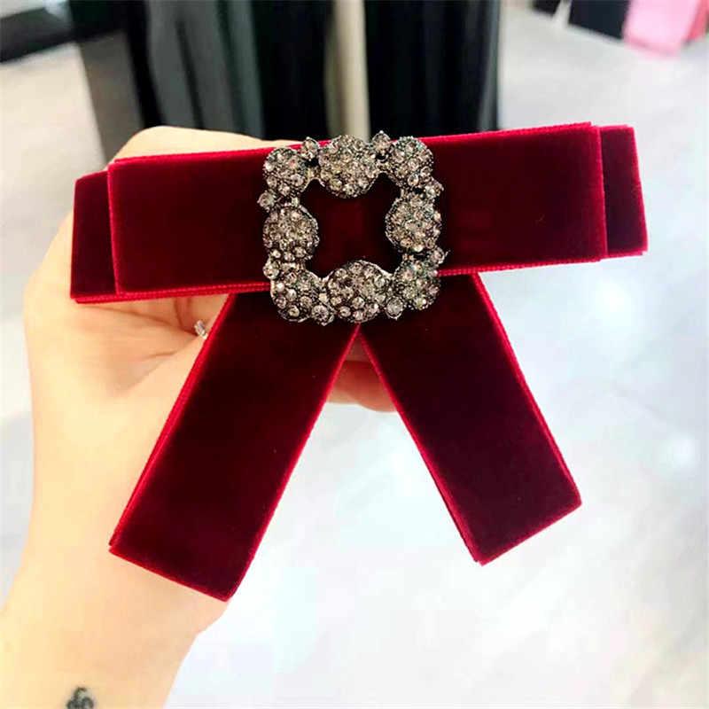 ... Korea New Handmade Velvet Rhinestone Shirt Pin Neck Bow Tie Bowknot  Apparel Accessories Fashion Jewelry- ... 0d6e62dc6e5a