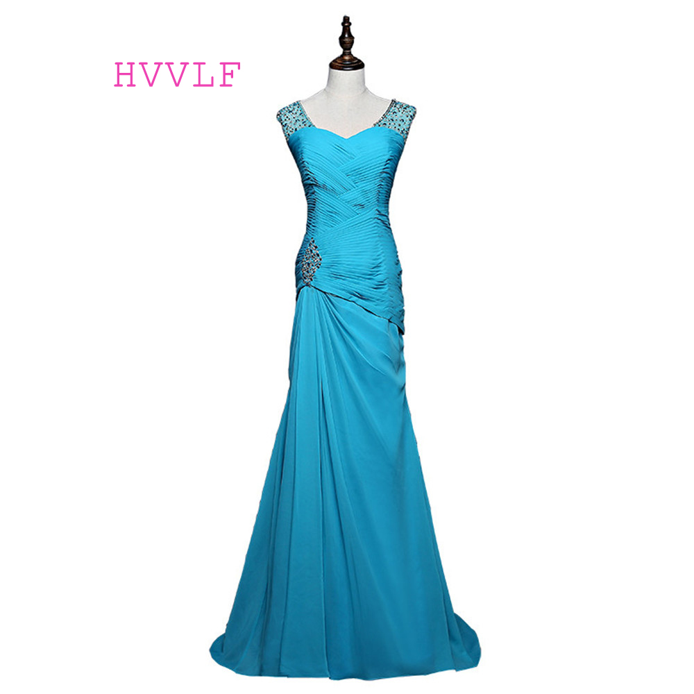 Blue 2019   Prom     Dresses   Mermaid V-neck Cap Sleeves Chiffon Beaded Crystals Women Long Evening   Dresses   Evening Gown Robe De Soiree