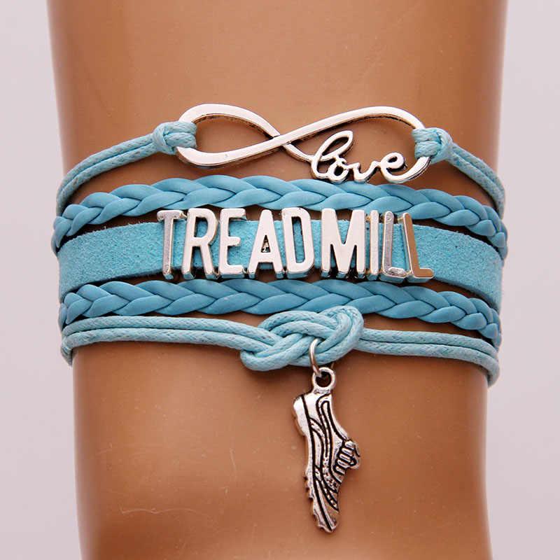 NCRHGL Infinity tình yêu MÁY CHẠY BỘ vòng tay lắc tay thể thao giày charm braided pu leather bracelet trang sức nam phụ nữ Thả Vận Chuyển