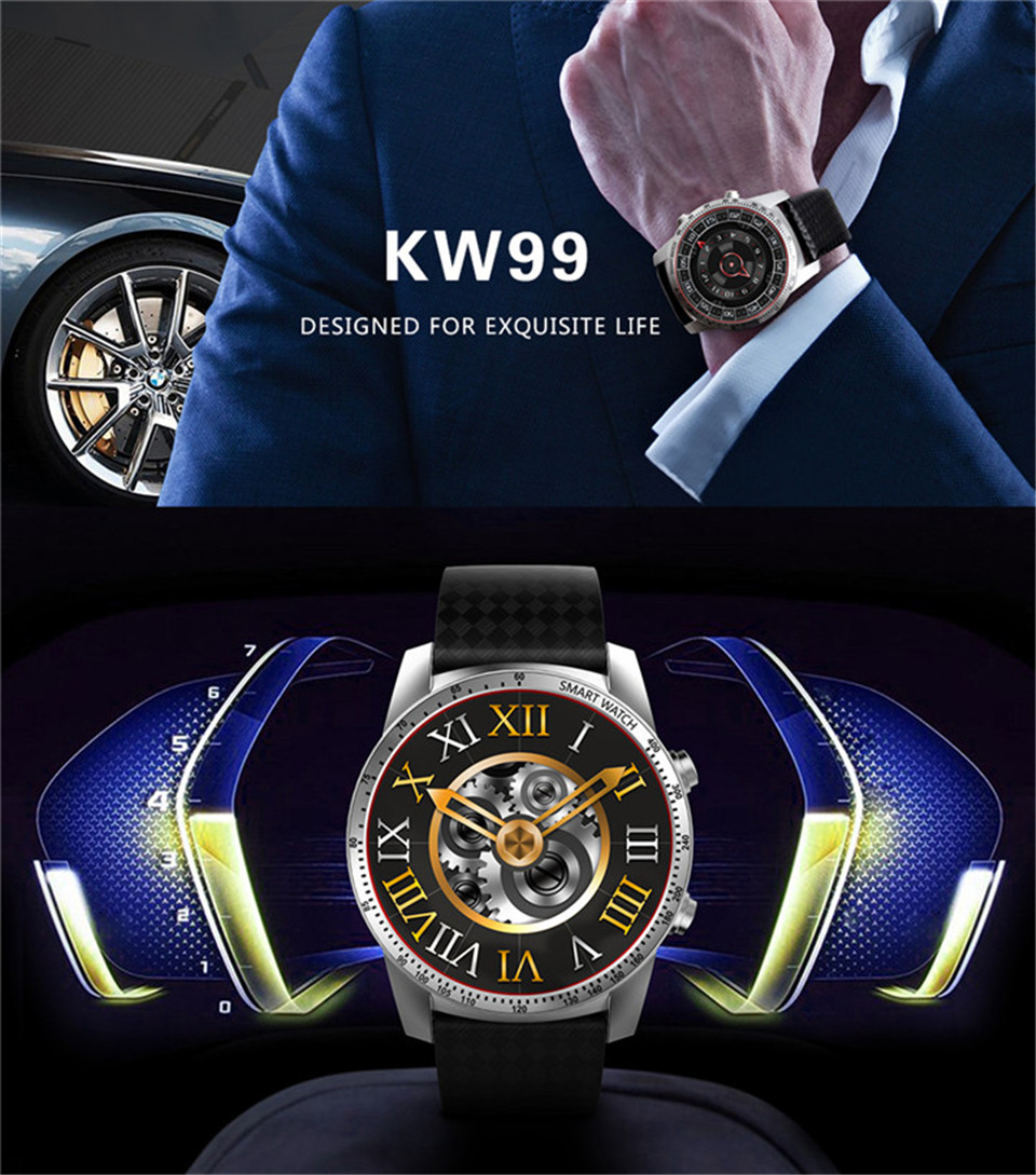 """FROMPRO KW99 3G Smartwatch Phone Android 5.1 1.39"""" MTK6580 Quad Core 8GB ROM Heart Rate Monitor Pedometer Smart Watch For Men"""