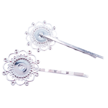 Silver Plated 120piece 55mm Hair Pins with 12mm Round Bezel Blank Hairpins Base Jewelry Findings Hair accessories HPF17