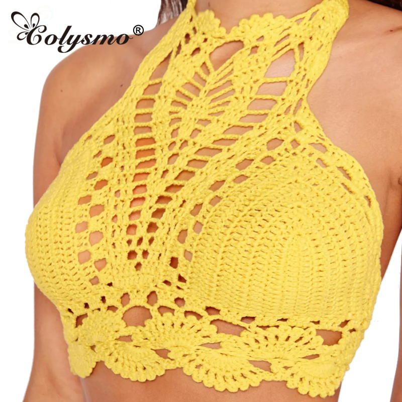 Tienda Online Colysmo amarillo brillante mujeres Halter cuello ...