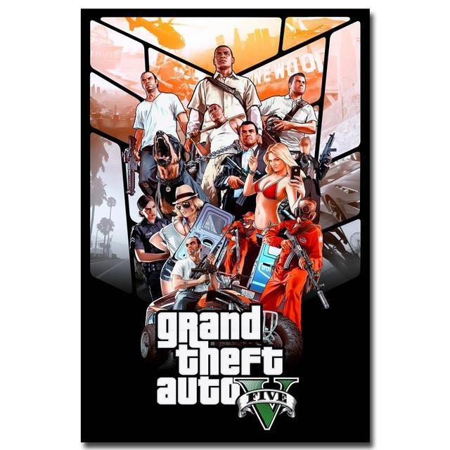 Шелковый Плакат гобелен Grand Theft Auto V вариант 3