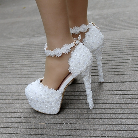 ad6e300a6 ... Crystal Queen White Lace Flower Bridal Shoes 14CM High Heel Round Toe  Wedding Pumps Ankle Straps