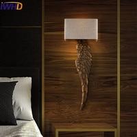 IWHD Wood Sconce Wall Light Style Loft Industrial Wall Lamp LED Cloth Vintage Retro Wandlamp Home Lighting Stairs Arandela