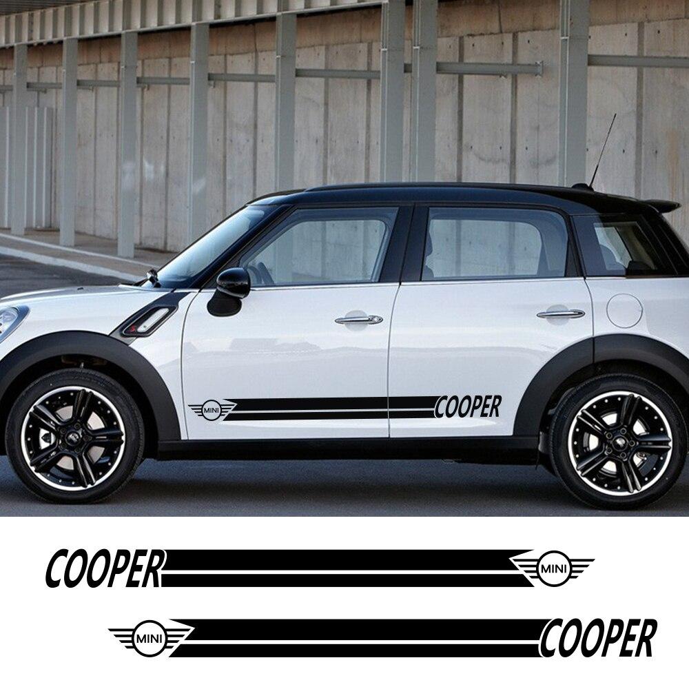 Наклейки для автомобиля сбоку в полоску спортивный стиль наклейки для Mini Cooper R56 R57 R58 R50 R52 R53 R59 R61 R60 F60 F55 F56 F54 аксессуары