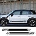 Автомобильные наклейки с полосками сбоку  спортивные наклейки для Mini Cooper R56 R57 R58 R50 R52 R53 R59 R61 R60 F60 F55 F56 F54  аксессуары