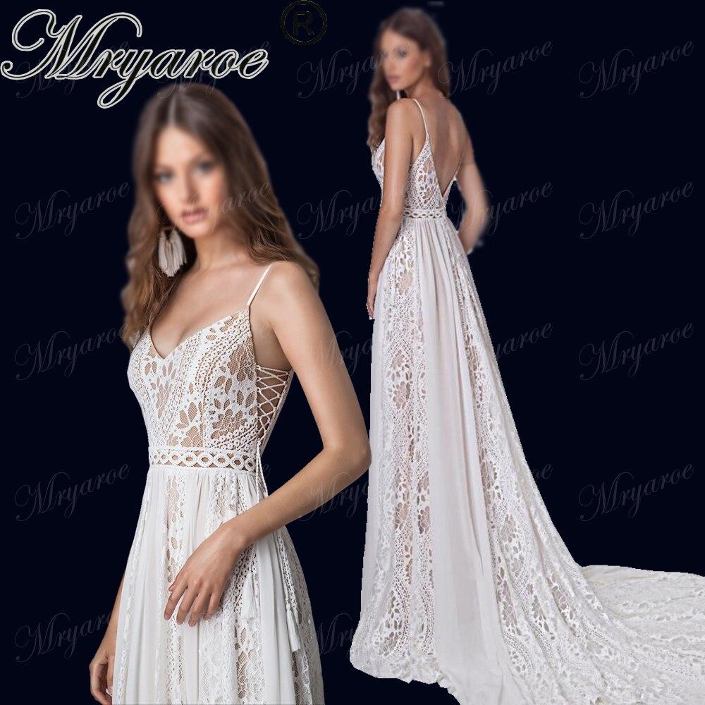 Mryarce 2019 Boho Chic Wedding Dresses Spaghetti Straps Twist Lace Chiffon A Line Open Back Bohemian