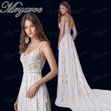 Mryarce 2019 ボヘミアンシックなウェディングドレススパゲッティストラップツイストレース A ラインオープンバックボヘミアンドレスの花嫁衣装