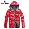 TANGNEST 2017 New Arrival Fashion Hooded Lowest Price Parka New Design 5 Colors Bright Windproof Male Asian Size Coat MWM1503