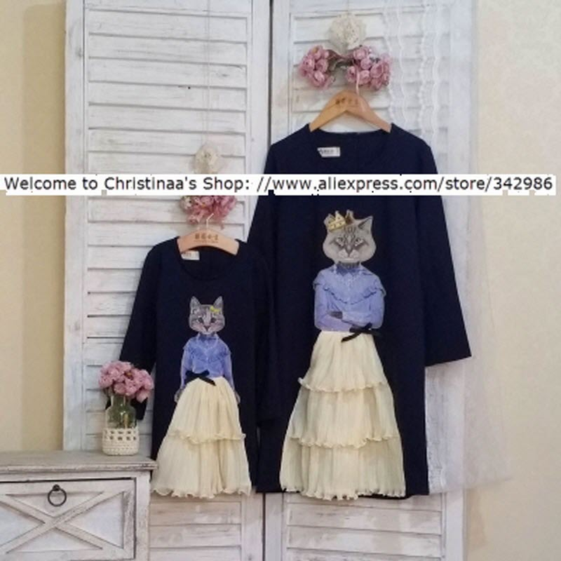 European and American children clothing Family Mother and daughter Female Woman kids Dink cat Dress queen meow and Princess meow цена