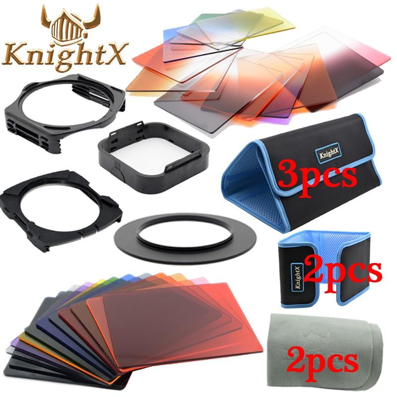 KnightX 24 필터 졸업 ND Nikon Canon EOS 1200D 750D 700D 600D 100D 렌즈 용 컬러 cokin p 시리즈 52 58 67 77 82 mm
