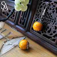 SA SILVERAGE Handmade Earrings Retro Craft Jewelry Ceramic Jewelry Color Earrings Drop New 2019 Style National Style Earrings