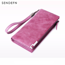 Sendefn Genuine Leather Women Wallet Lady Long Purse Card Holder Phone Pocket Female Wallets Large Capacity