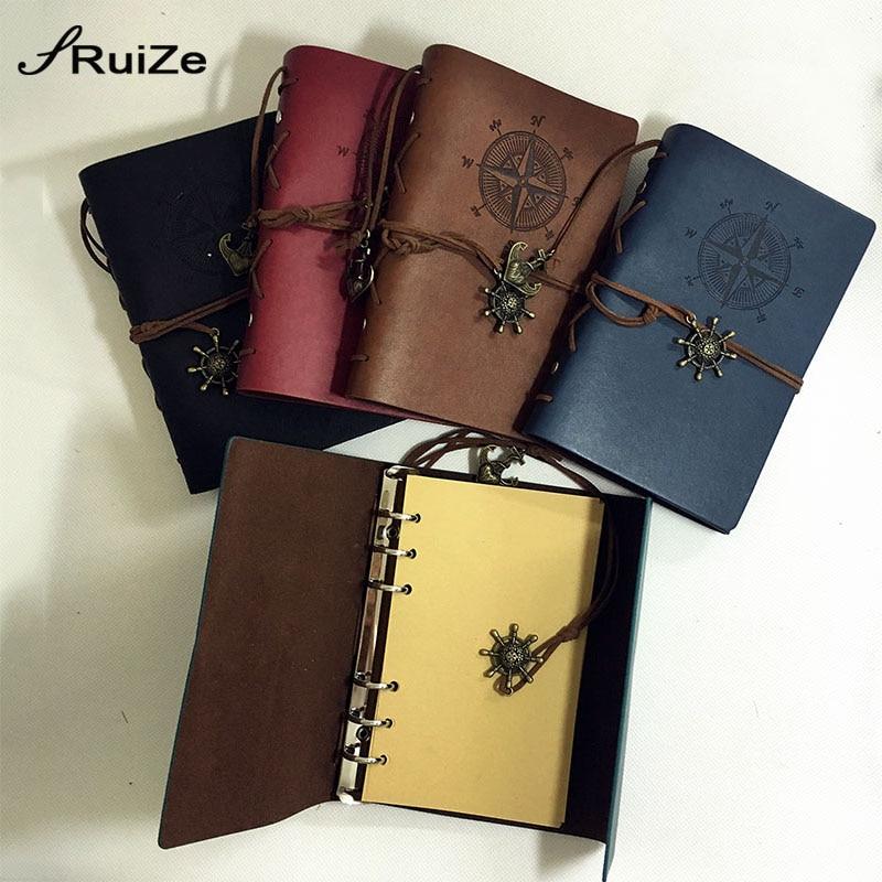 RuiZe Vintage ταξιδιώτη σημειωματάριο σημειωματάριο A6 δερμάτινο περιοδικό ξαναγεμίσετε κενές σελίδες χαρτί sketchbook χαρτιού 6 δακτύλιο συνδετήρα δαχτυλίδι