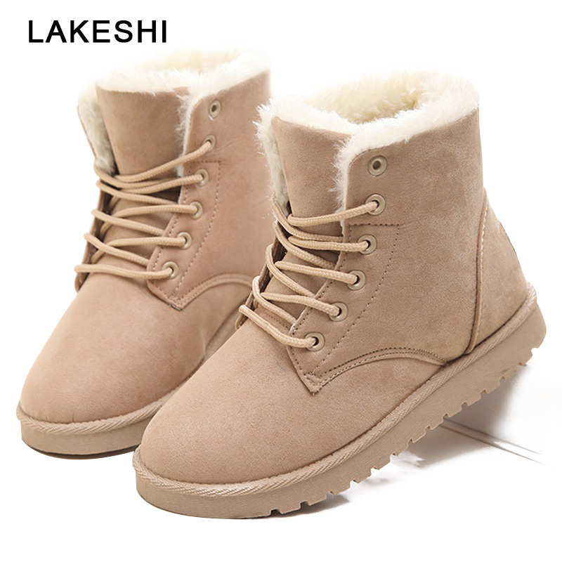 LAKESHI Women Boots Suede Winter Boots Plush Warm Fur Snow Boots Casual Shoes Women Lace-Up Round Toe Ankle Boots Female Shoes eiswelt women mid calf boots winter snow boots warm round toe flat shoes female fashion lace up boots plus size zqs182 page 8