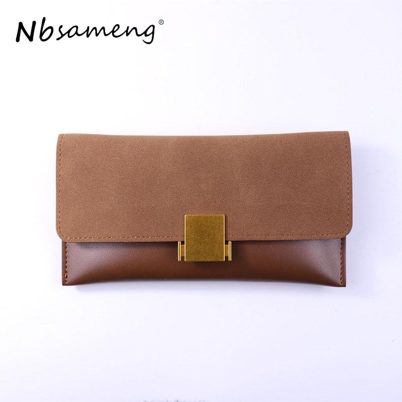 NBSAMENG Leather Women Long Wallets Nubuck Wallet Long Design PU Leather Clutch Lady Cash Purse Women Hand Bag Carteira Feminina