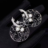 fine women jewelry natural fresh water pearl earring hollow out star and moon free shipping 925 sterling silver
