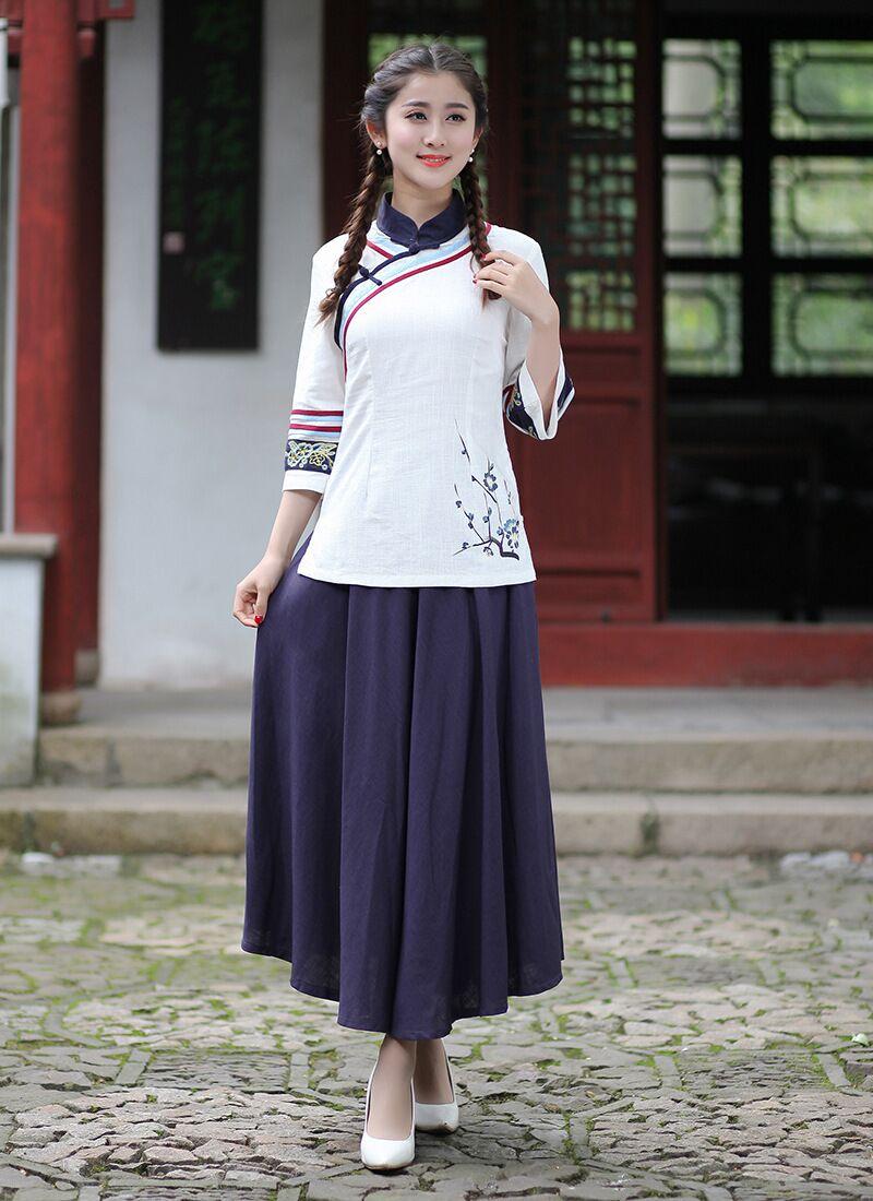 Nueva llegada camisa de las mujeres blancas Faldas Sets algodón de lino  Tang tamaño de la ropa S M l XL XXL XXXL 2619-1 0fcb1ff5a5d