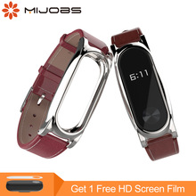 Mijobs PU kožni remen za Xiaomi Mi Band 2 remen Mi Band 2 Narukvica Miband 2 remen Wristband Smart Watch Zamijenite remen za rukavice