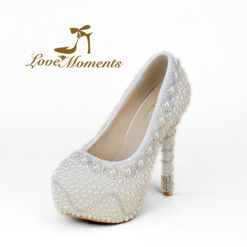 Handicraft Ivory Pearl High Heels Rhinestone Wedding Party Shoes Bride Crystal Banquet Shoes Performance Show Dress Pumps