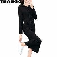TEAEGG Casual Black Maxi Women Dresses Plus Velvet Dress Women Clothes Autumn Winter Long Sleeve Dress