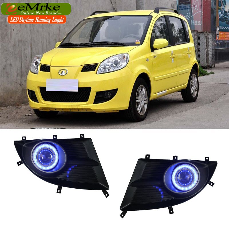 EEMRKE For Great Wall Peri 2006-2010 2in1 Fog Lights Lamp Halogen Bulbs H3 55W LED Angel Eye DRL Daytime Running Light for opel astra h gtc 2005 15 h11 wiring harness sockets wire connector switch 2 fog lights drl front bumper 5d lens led lamp