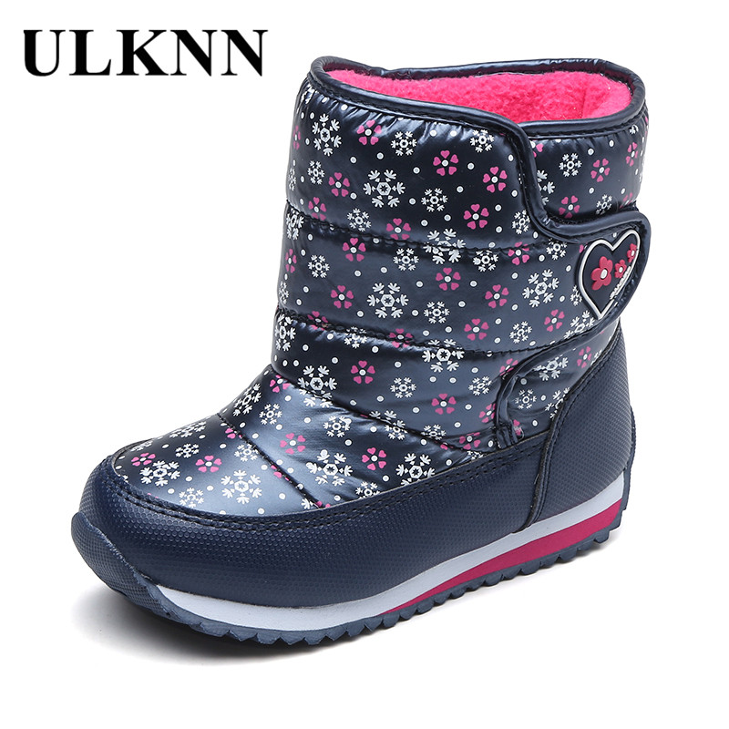 ULKNN Girls Boots For Kids Winter Shoes Waterproof Snow Boots Children Wool Mid Calf Flat Flowers Cloth bota Blue Red Silver fall and winter girls boots knitted wool boots elastic cotton cloth boots