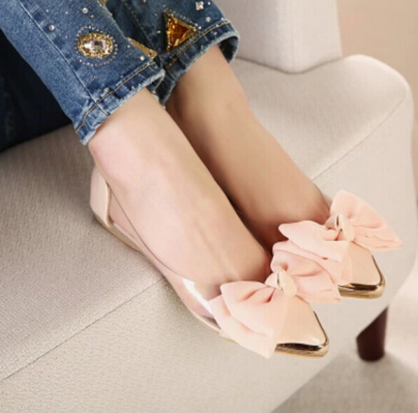 2015 spring summer sweet women flats pointed sequined toe with big bowtie shoes women casual shoes sapato feminino free shipping new 2017 spring summer women shoes pointed toe high quality brand fashion womens flats ladies plus size 41 sweet flock t179